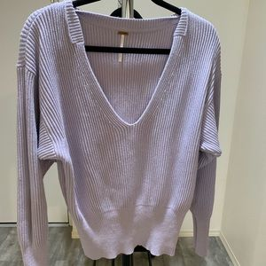 Free people lavender deep v sweater